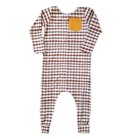 BROWN PLAID RAGLAN/ROMPER