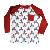 CHRISTMAS WAGON ON RAGLAN/ROMPER