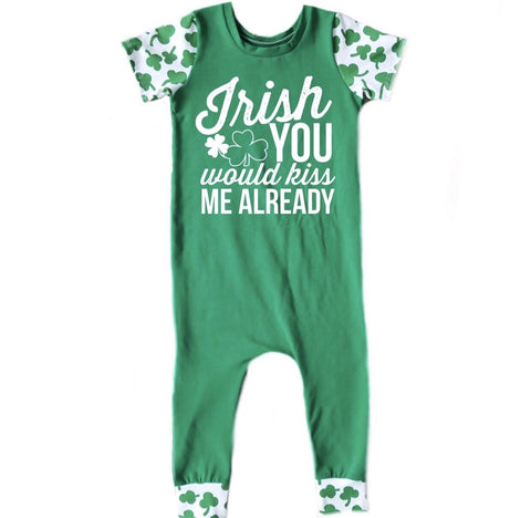 IRISH YOU WOULD KISS ME ALREADY ON RAGLAN/ROMPER