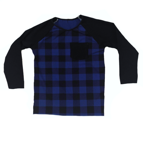 BLUE BUFFALO PLAID RAGLAN/ROMPER