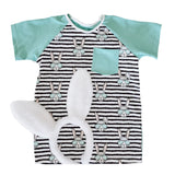 BLACK STRIPE HIPSTER BUNNY WITH TEAL ON RAGLAN/ROMPER