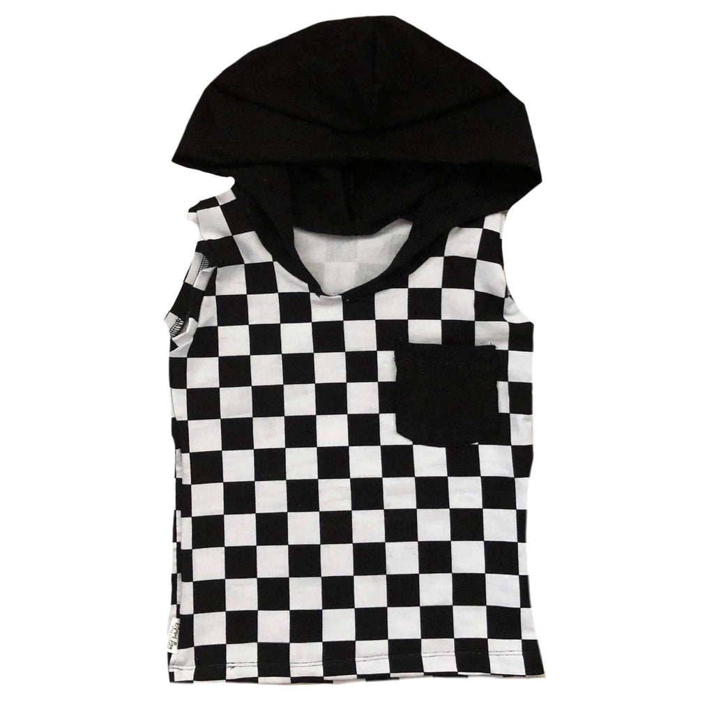 CHECKERED ON BLACK TANK HOODIE