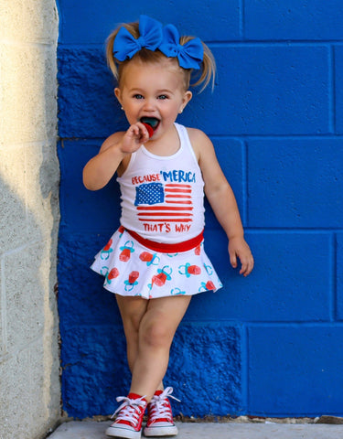RED WHITE & BLUE BOMB POPS SPANDEX BOARD SHORT/EUROS