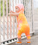 CREAMSICLE TIE DYE HOODED ROMPER