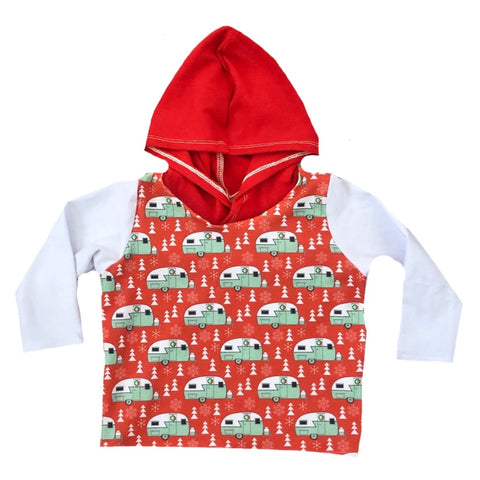 CHRISTMAS RETRO RV WITH RED/WHITE ON HOODED TEE