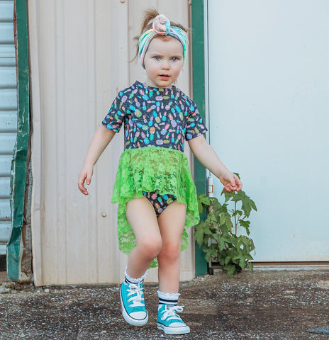 NEON PINEAPPLES WITH NEON DBP LIME ON RAGLAN/ROMPER
