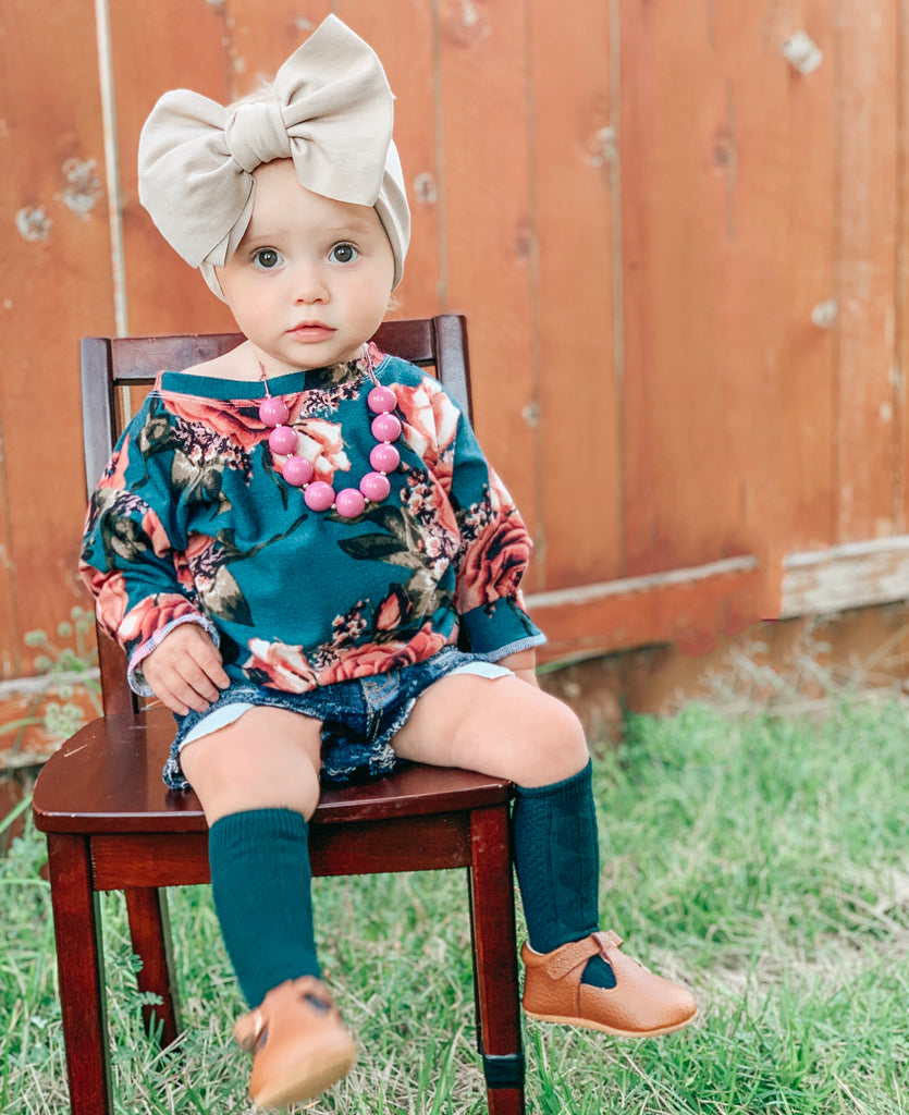 TEAL FLORAL BOXY SWEATER