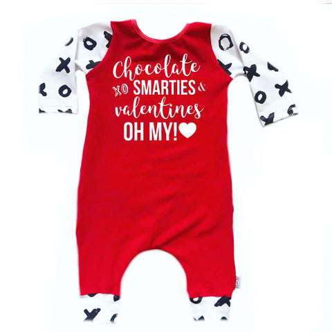 CHOCOLATE SMARTIES VALENTINES OH MY! ON RAGLAN/ROMPER