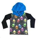 CHRISTMAS SKULL LIGHTS WITH BLACK/BLUE ON HOODED TEE