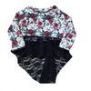 CHRISTMAS FLORAL WITH BLACK LACE DRAMATIC PEPLUM