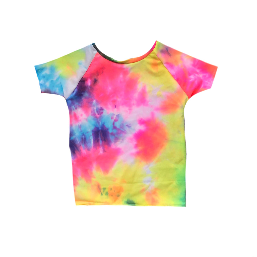 RAINBOW NEON TIE DYE SHORT-SLEEVE RASH GUARD