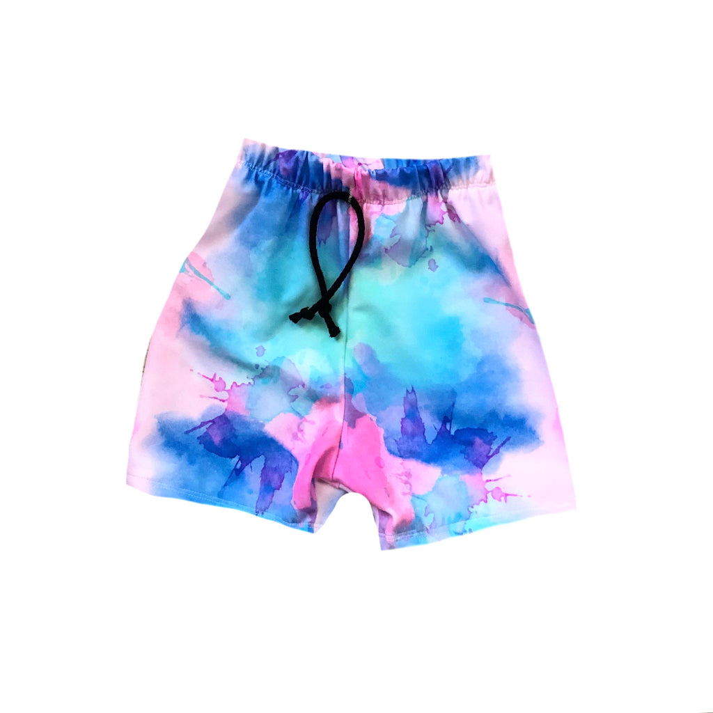 COTTON CANDY SPLATTER TIE DYE SPANDEX BOARD SHORT/EUROS
