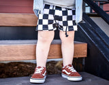 LARGER CHECKERED SPANDEX BOARD SHORT