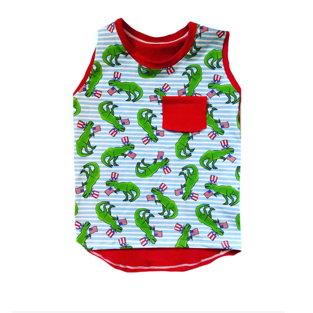 PATRIOTIC DINOSAUR ON RED TRENDY TANK