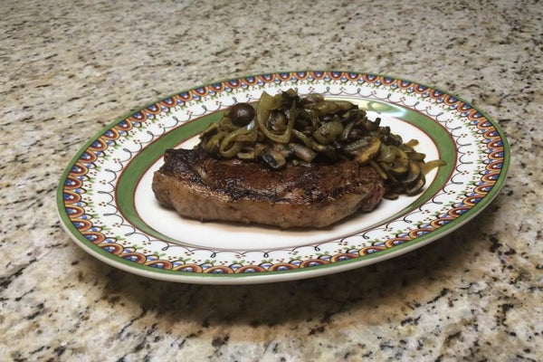 Grass Fed Steak with Sautéed Mushrooms & Onions