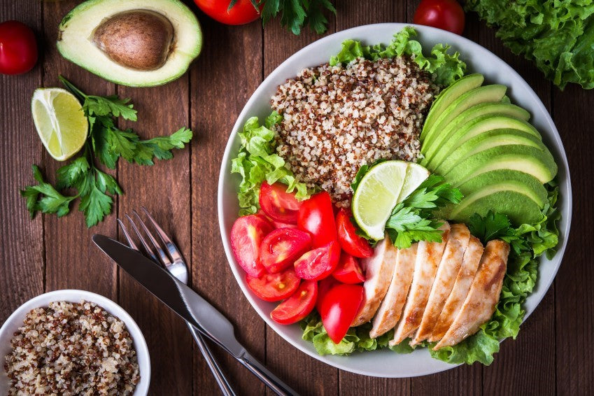 Plate with healthy food on it.