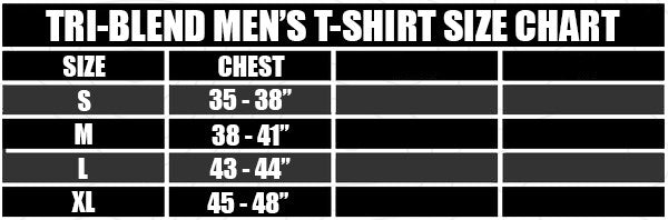 PNP Tri-Blend Men's T-Shirt Size Chart