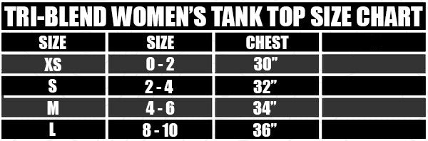 PNP Tri Blend Women's Tank Top Size Chart