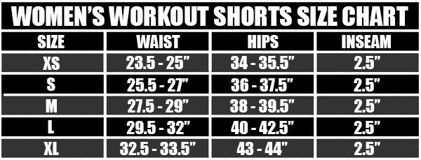 Womens Workout Shorts Size Chart