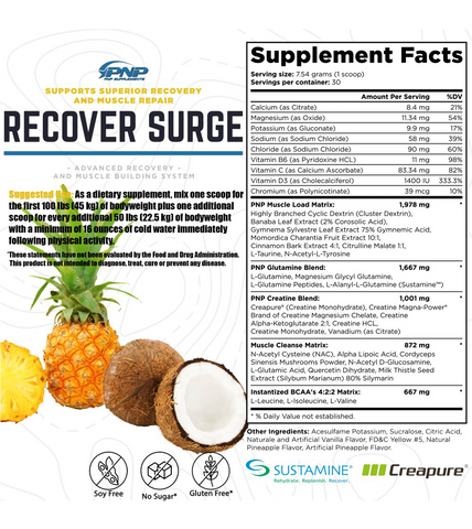 Recover Surge Best Recovery Supplement Facts Panel