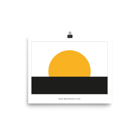 New Beginning flag Poster with name tag
