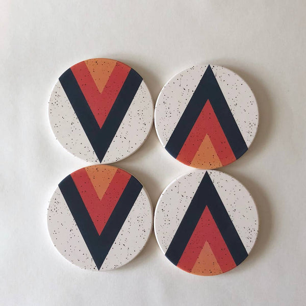 Arrow Absorbent Ceramic Stone Coasters | set of 4