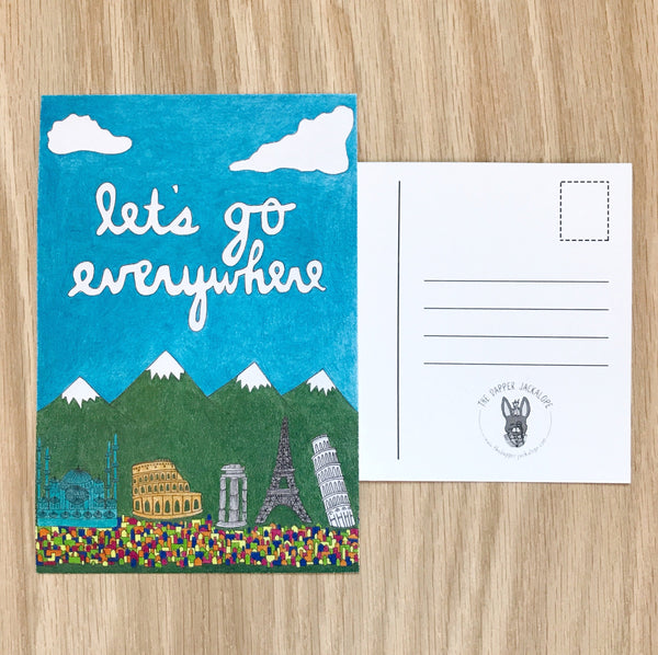 Let's Go Everywhere Postcard