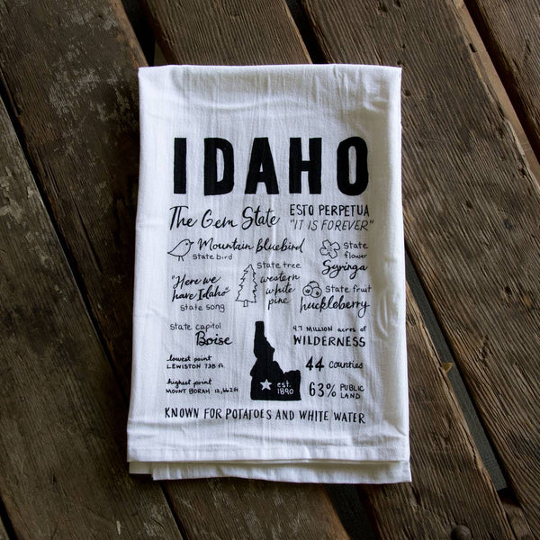 Idaho Facts Tea Towel