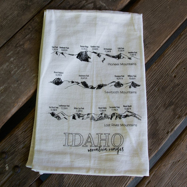 Idaho Mountain Ranges Tea Towel