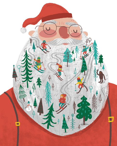 Santa Snowy Beard Ski Hill Card