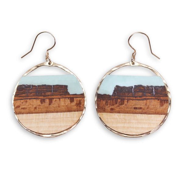 Mesa Turquoise Basswood Hoop Earrings