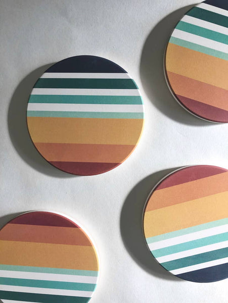 Sunset Absorbent Ceramic Stone Coasters | set of 4