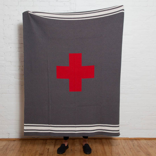 Swiss Cross with Stripes Throw | Aluminum or Charcoal