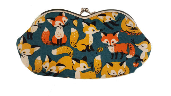 Sunglass Case | Clutch Purse - Foxes
