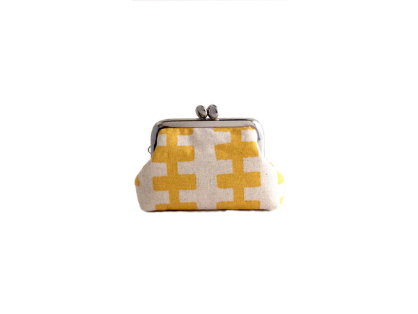 Mini Pouch | Jewelry Case - Yellow Lines