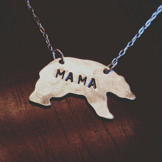 "Mama Bear Necklace - 16"" Brass"