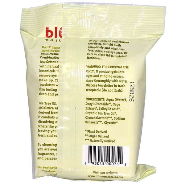 Blum Naturals - Daily Normal Skin Towelettes, Cucumber