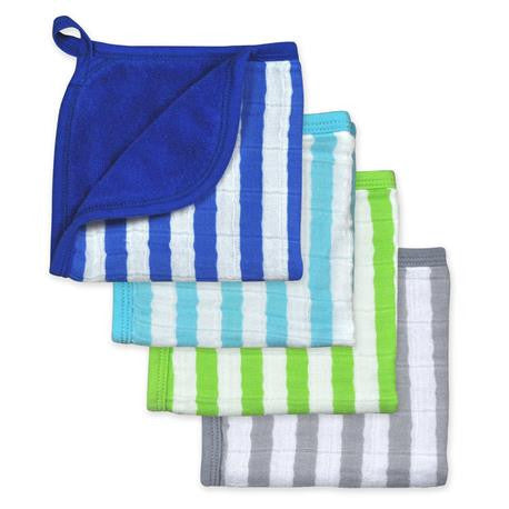 Green Sprouts - Muslin Washcloths - 4 Pack - Royal Blue Set