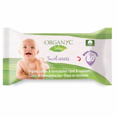 Organyc Baby - Sweet Caress Resealable Baby Wipes, 60ct Unscented
