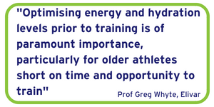 Optimising energy and hydration levels prior to training is of paramount importance, particularly for older athletes short on time and opportunity to train