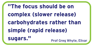 The focus should be on complex (slower release) carbohydrates rather than simple (rapid release) sugars.