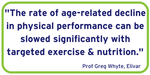 The rate of age-related decline in physical performance can be slowed significantly with targeted exercise & nutrition.