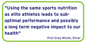 Using the same sports nutrition as elite athletes leads to sub-optimal performance and possibly a long term negative impact to our health