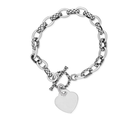 B-807-H Alternating Cable Rolo Link with Lattice Pattern Bracelet - Heart | Teeda