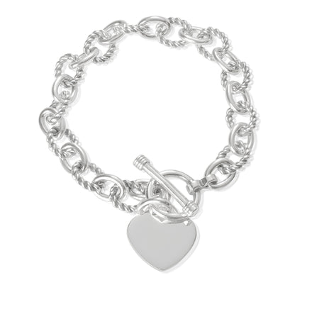 B-813-H Alternating Sm Twist Oval Cable Link Bracelet - Heart | Teeda