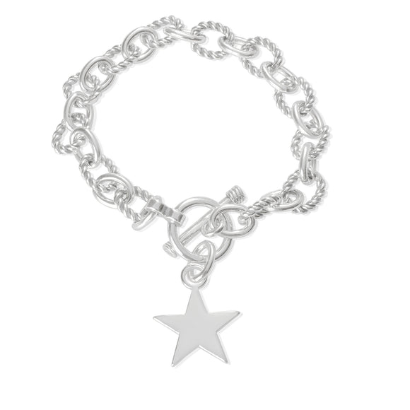 B-813-S Alternating Sm Twist Oval Cable Link Bracelet - Star | Teeda