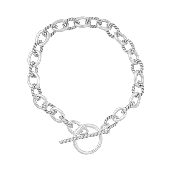 B-813-X Alternating Sm Twist Oval Cable Link Bracelet - No Charm | Teeda