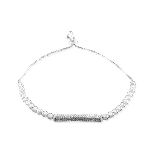 BZ-7013 Micropavé Bar Bezel Set CZ Slider Bracelet