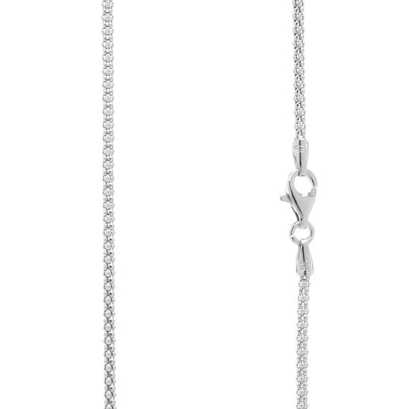 CPR-180 Popcorn 180 Chain 1.7mm Rhodium Plated | Teeda