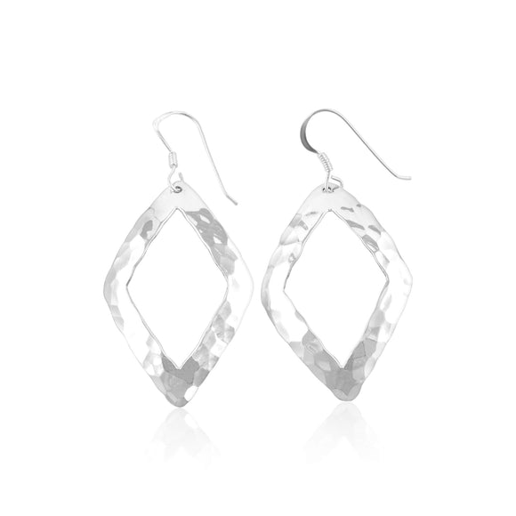 E-1524 Hammered Finish Open Rhombus French Wire Earrings | Teeda